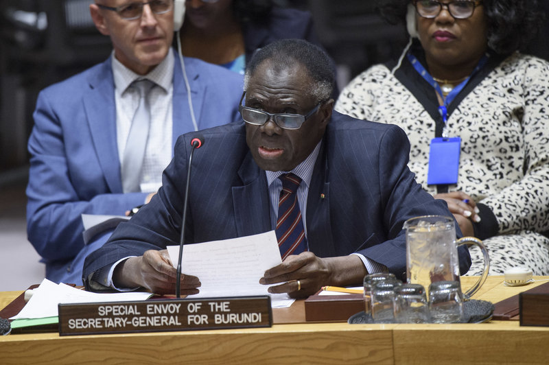 Michel Kafando, Special Envoy of the Secretary‑General for Burundi, briefs the Security Council on the situation in Burundi. UN Photo/Loey Felipe