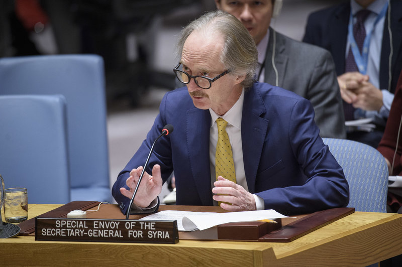 Geir O. Pederson, Special Envoy for Syria, briefs the Security Council on the situation in the Middle East (Syria). UN Photo/Loey Felipe