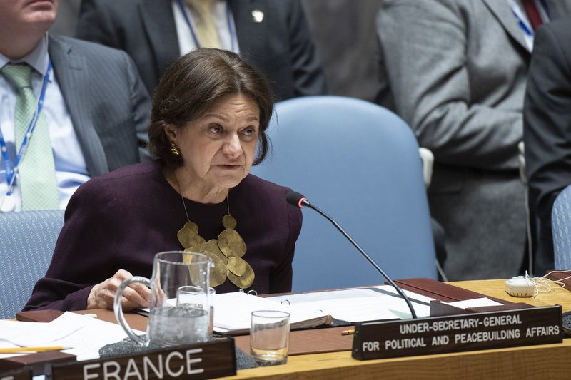 Rosemary DiCarlo, Under-Secretary-General for Political and Peacebuilding Affairs, briefs the Security Council on the situation in Syria. UN Photo/Eskinder Debebe