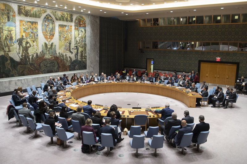 Wide view of the Security Council meeting on the situation in the Middle East. UN Photo/Eskinder Debebe
