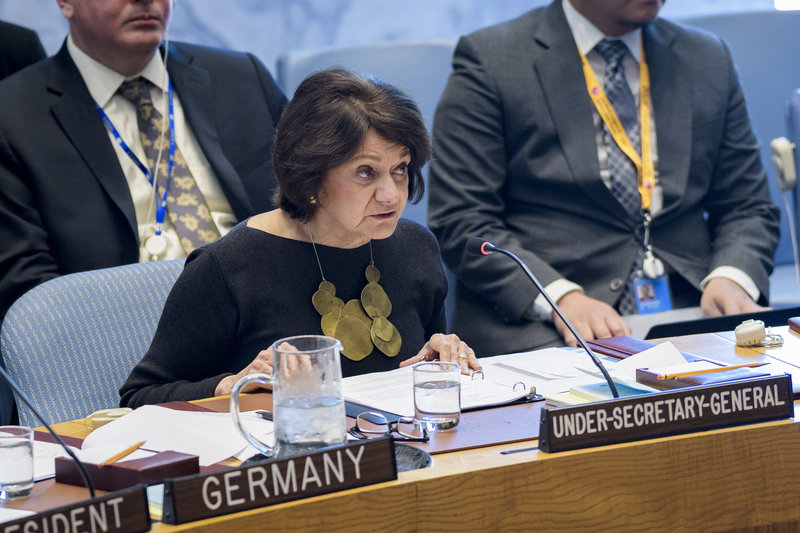 Rosemary DiCarlo, Under-Secretary-General for Political and Peacebuilding Affairs, briefs the Security Council on the situation in the Middle East.