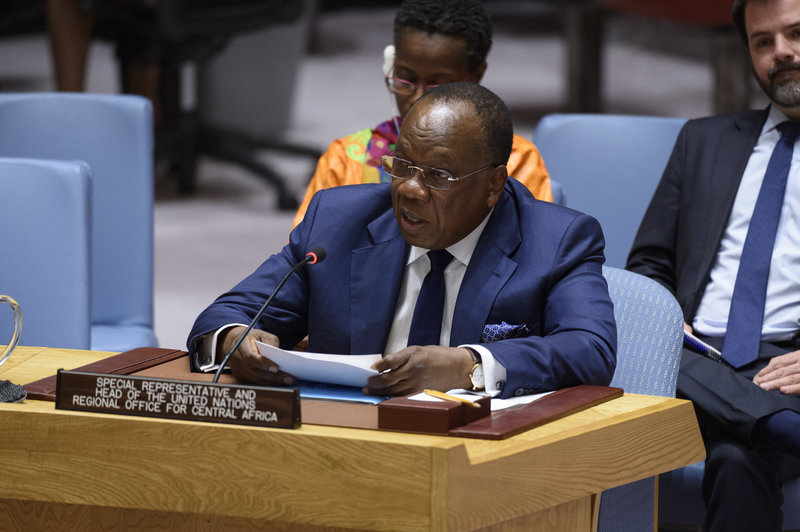 François Loucény Fall, Special Representative of the Secretary-General and Head of the United Nations Regional Office for Central Africa, briefs the Security Council meeting on the Central African region.