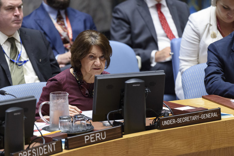 Rosemary DiCarlo, Under-Secretary-General for Political and Peacebuilding Affairs, briefs the Security Council on the situation in Afghanistan and her recent visit to the country together with the Deputy Secretary-General Amina Mohammed. 26 July 2019. UN Photo/Loey Felipe