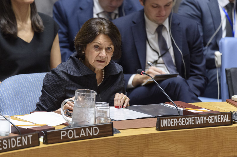 Rosemary DiCarlo, Under-Secretary-General for Political and Peacebuilding Affairs, briefs the Security Council meeting on the situation in the Middle East (Syria). UN Photo/Loey Felipe