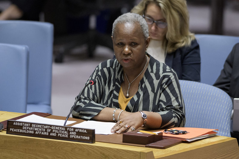 Bintou Keita, Assistant Secretary-General for Africa, Departments of Political and Peacebuilding Affairs and Peace Operations, briefs the Security Council meeting on the situation in Guinea-Bissau. UN Photo/Manuel Elias