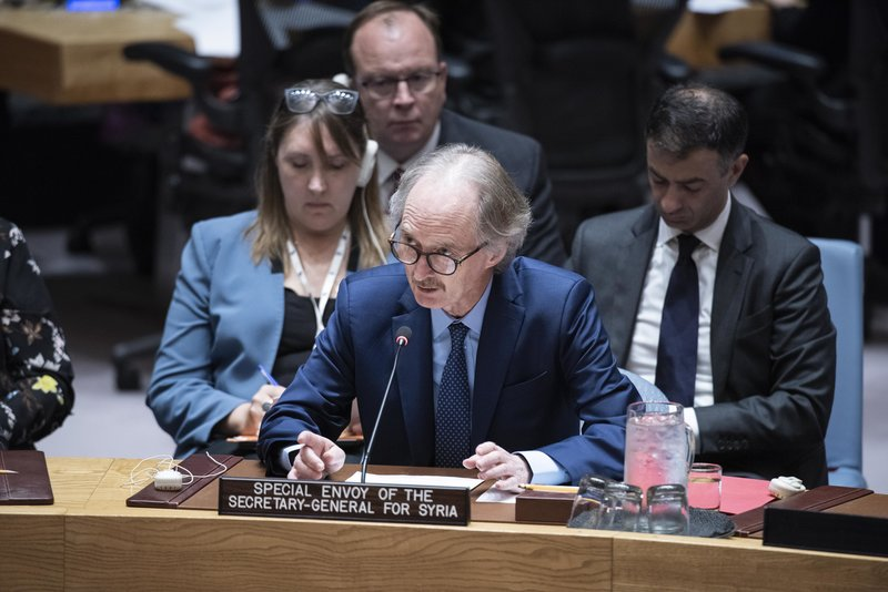 Geir O. Pedersen, Special Envoy of the Secretary-General for Syria, briefs the Security Council on the situation in Syria. UN Photo/Kim Haughton