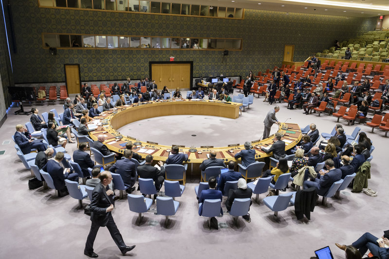 A wide view of the Security Council meeting on the situation in Syria. UN Photo/Manuel Elias