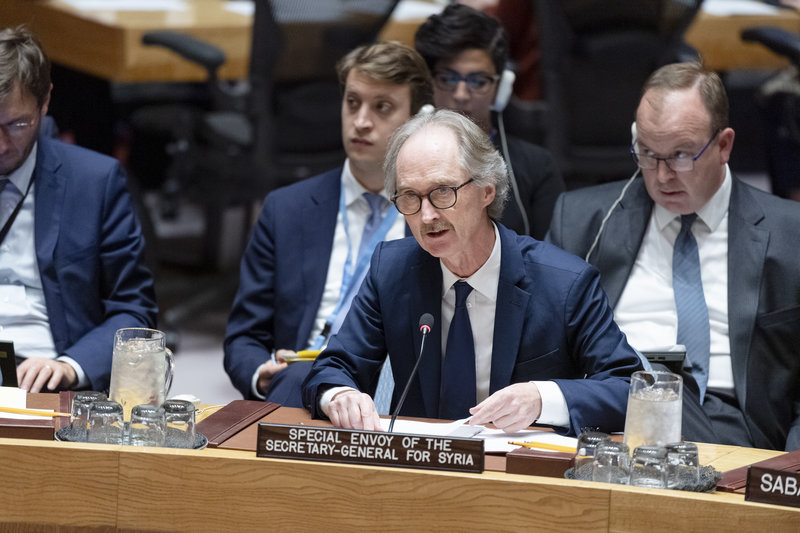 Geir O. Pedersen briefing the Security Council. UN Photo/Rick Bajornas