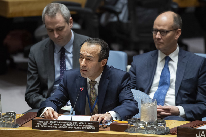 Assistant Secretary-General Khaled Khiari briefs the Security Council meeting on Non-proliferation/Democratic People's Republic of Korea.