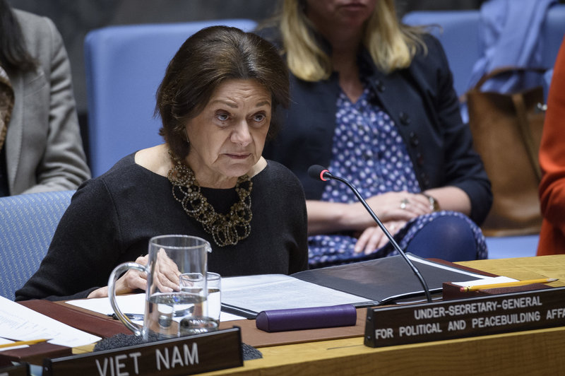 Rosemary DiCarlo, Under-Secretary-General for Political Affairs, briefs the Security Council meeting on the situation in the Middle East, including the Palestinian question on 21 January 2020.