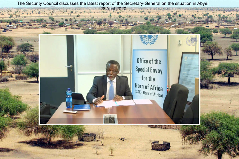 Parfait Onanga-Anyanga, Special Envoy of the Secretary-General for the Horn of Africa, briefs the Security Council members during an open video conference in connection with United Nations Interim Security Force for Abyei (UNISFA) and the Sudan and South Sudan. UN Photo/Evan Schneider