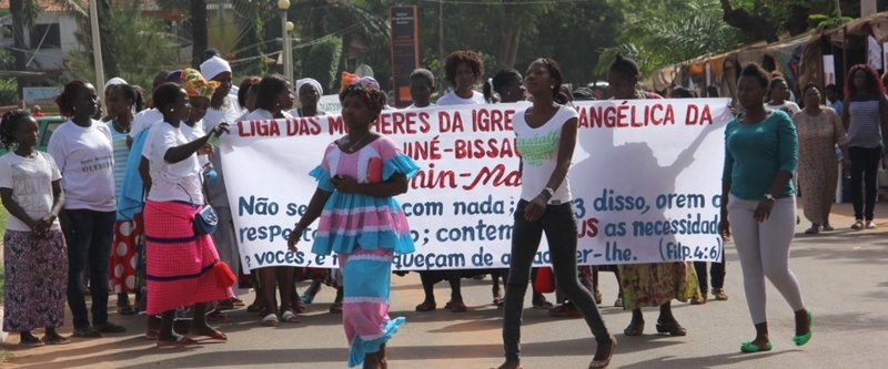 Women march in Bissau on Women's Day 2016.