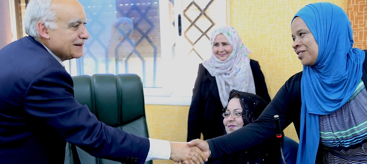 Special Representative for Libya Ghassan Salamé shakes hand with a representative during a meeting with women activists in El Guba, Libya.
