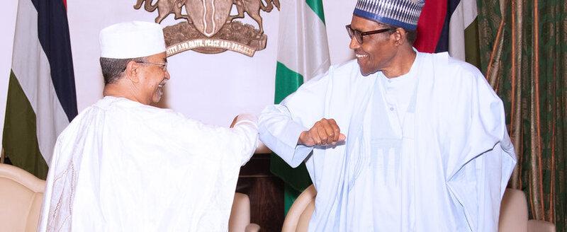 Nigerian President Buhari greeting Special Representative Mahamat Saleh Annadif