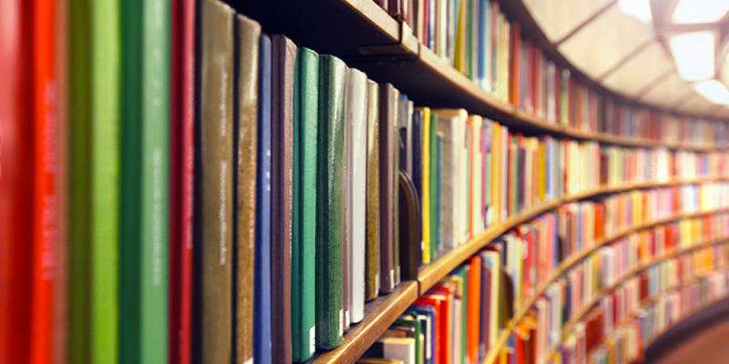 Row of books in a library.