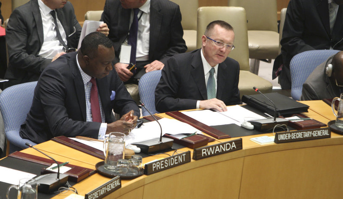 Jeffrey D. Feltman, Under-Secretary-General for Political Affairs, briefs the Security Council on the situation in Mali. On his right is Eugène-Richard Gasana, Permanent Representative of the Republic of Rwanda to the UN and President of the Security Council for the month of April.