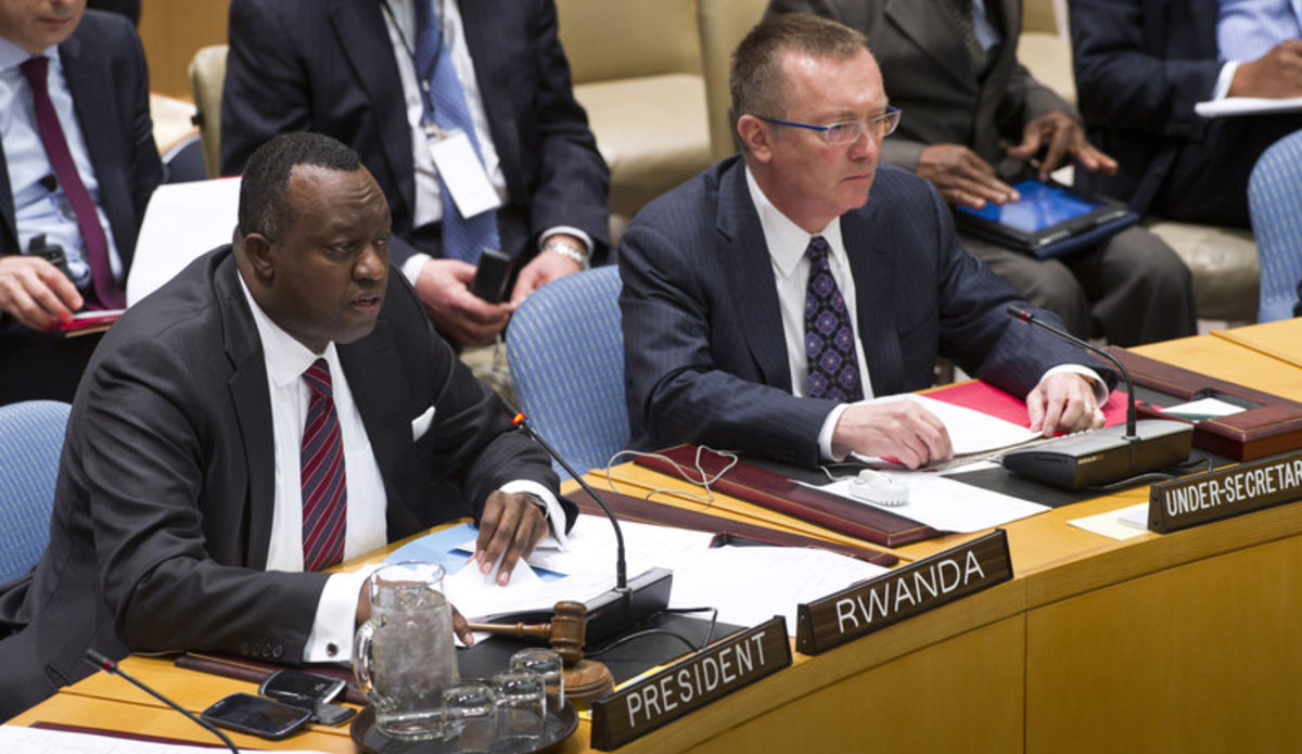 Eugène-Richard Gasana, Permanent Representative of the Republic of Rwanda to the UN and President of the Security Council for the month of April, chairs the Council's meeting on the situation in the Middle East, including the Palestinian question. On his left is Jeffrey Feltman, Under-Secretary-General for Political Affairs.