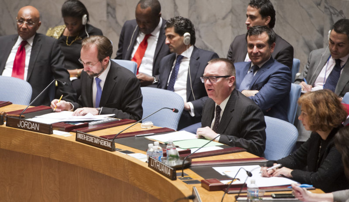 Jeffrey Feltman, Under-Secretary-General for Political Affairs, briefs the Security Council on the situation in the Central African Republic.