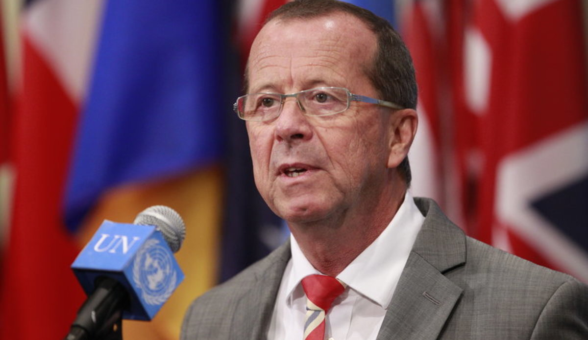 Martin Kobler, Special Representative for Libya speaks to journalists following a Security Council meeting.