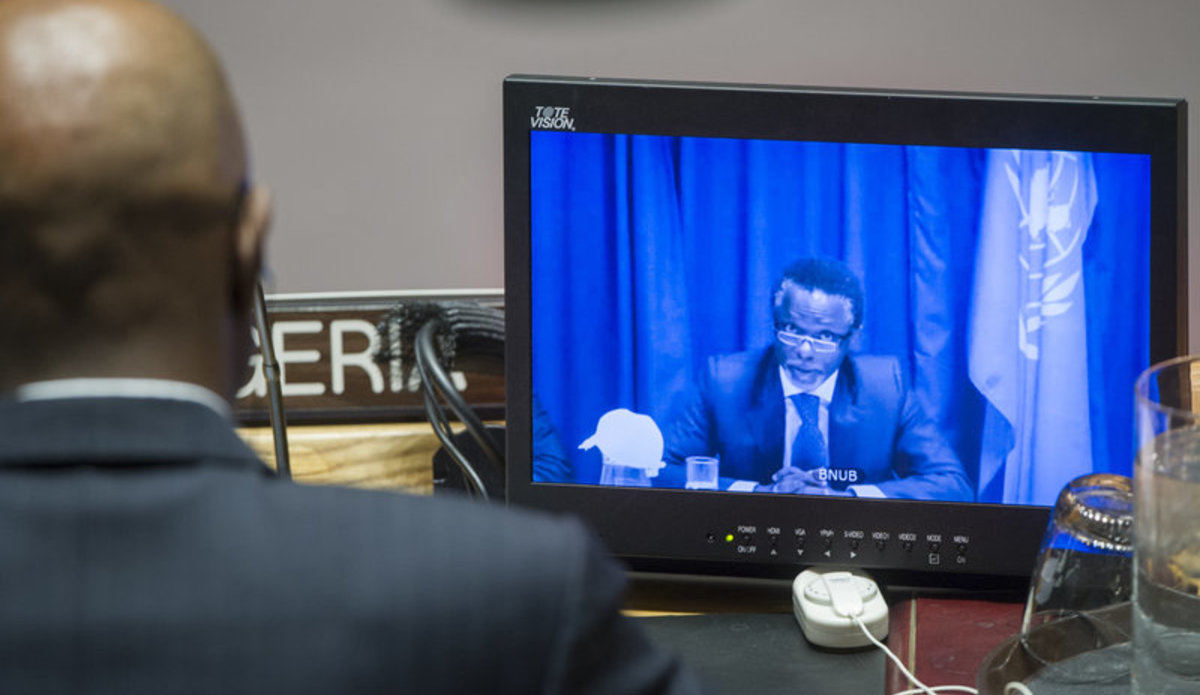 Parfait Onanga-Anyanga (shown on screen), Special Representative of the Secretary-General and Head of the United Nations Office in Burundi (BNUB), briefs the Security Council on the situation in that country via video link.