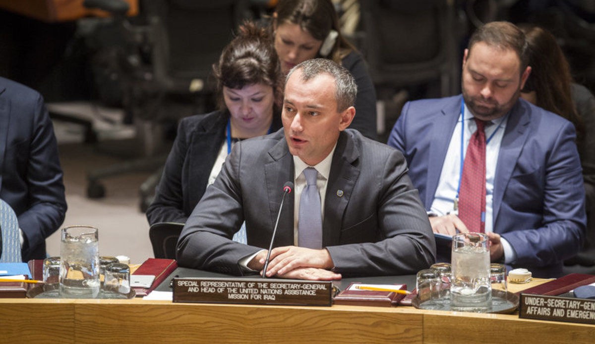 Nickolay Mladenov, Special Representative of the Secretary-General and Head of the UN Assistance Mission for Iraq (UNAMI), addresses the Security Council meeting on the situation concerning Iraq.