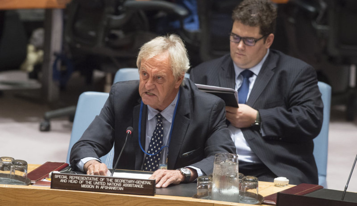 Nicholas Haysom, Special Representative of the Secretary-General and Head of the United Nations Assistance Mission in Afghanistan (UNAMA), addresses the Security Council meeting on the situation in that country and its implications for international peace and security.