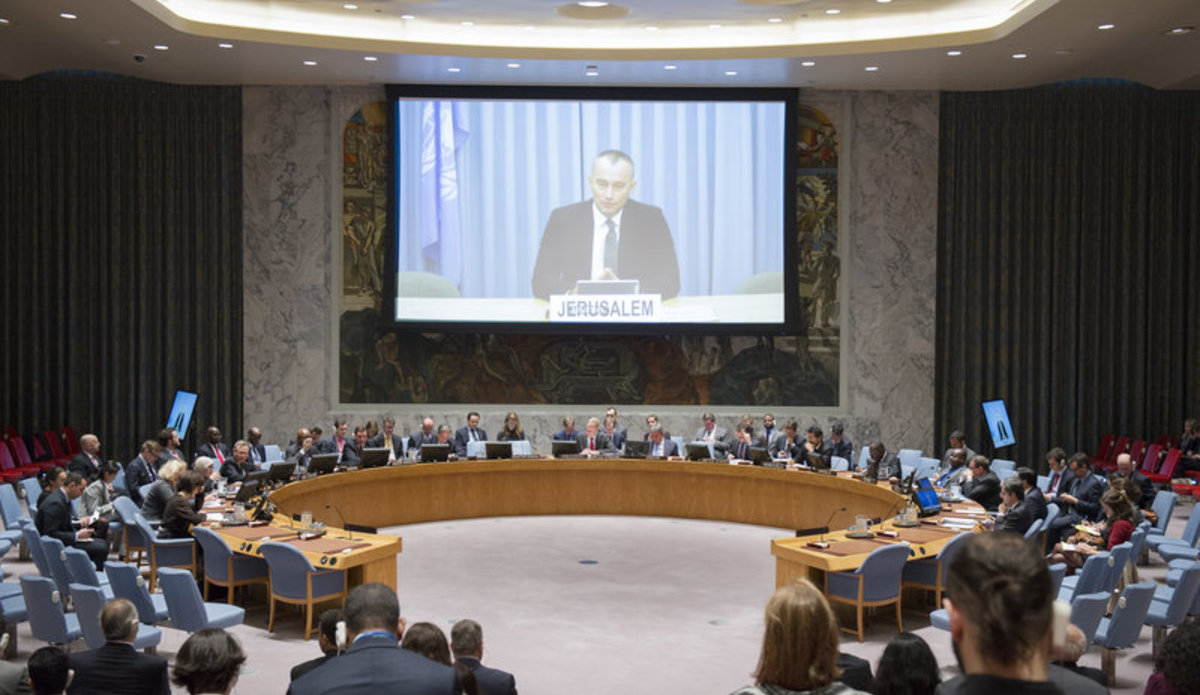 A wide view of the Security Council meeting on the situation in the Middle East, including the Palestinian question. The Council was briefed via video teleconference by Nickolay Mladenov, UN Special Coordinator for the Middle East Peace Process and Personal Representative of the Secretary-General to the Palestine Liberation Organization and the Palestinian Authority.