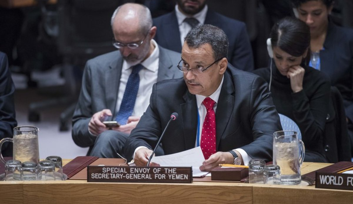 Ismail Ould Cheikh Ahmed, Special Envoy of the Secretary-General for Yemen, briefs the Security Council on Yemen during the Council's meeting on the situation in the Middle East.