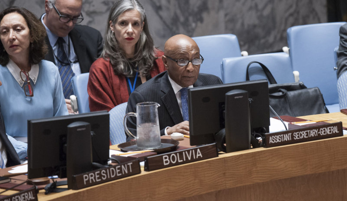 Taye-Brook Zerihoun, Assistant Secretary-General for Political Affairs, briefs the Security Council.