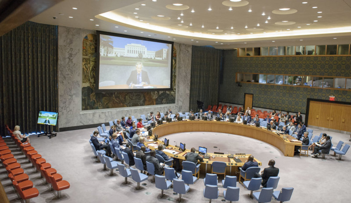 A wide view of the Security Council chamber as Nicholas Haysom (on screen), Special Envoy of the Secretary-General for Sudan and South Sudan briefs the Council via video conference.
