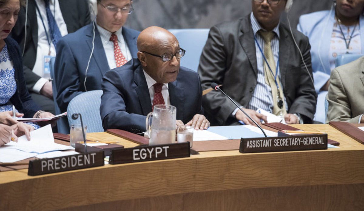 Tayé-Brook Zerihoun (right), Assistant Secretary-General for Political Affairs, addresses the Security Council meeting on enhancing the effectiveness of United Nations sanctions.