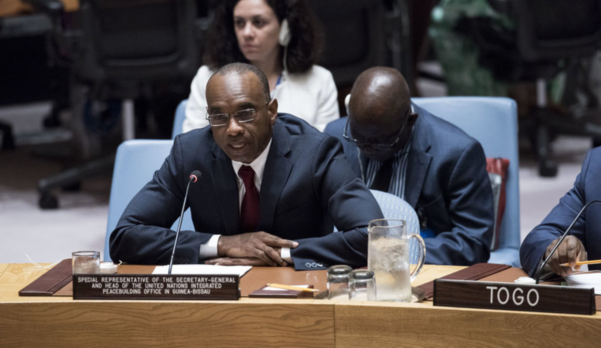 Modibo Touré, Special Representative of the Secretary-General and Head of the United Nations Integrated Peacebuilding Office in Guinea-Bissau (UNIOGBIS), addresses a Security Council meeting on the situation in Guinea-Bissau and the activities of UNIOGBIS.