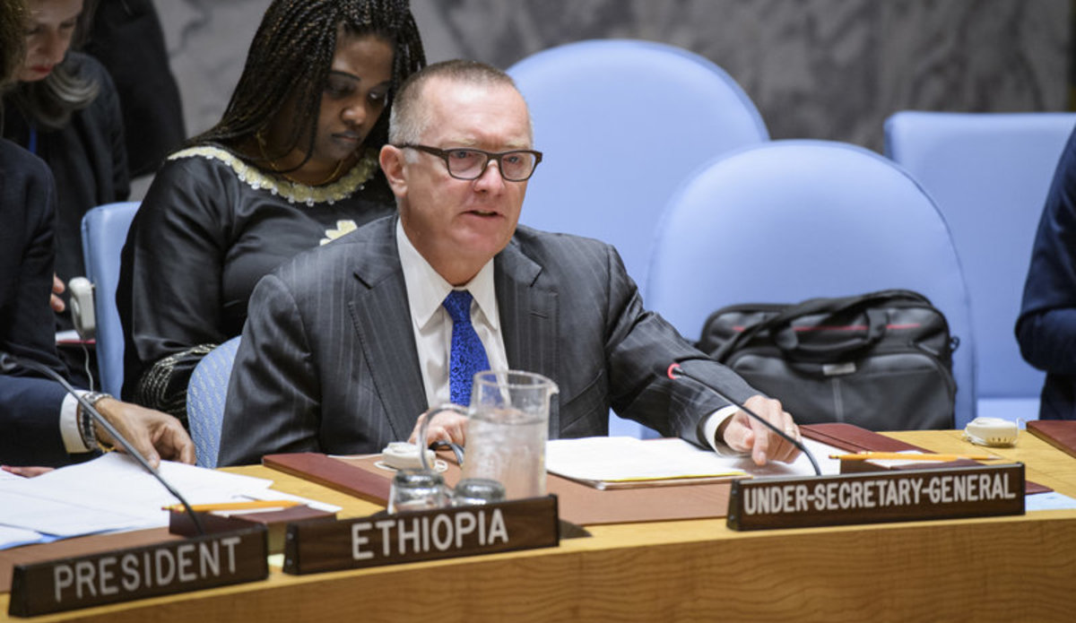 Jeffrey Feltman, Under-Secretary-General for Political Affairs, addresses the Security Council meeting on the situation in Myanmar.