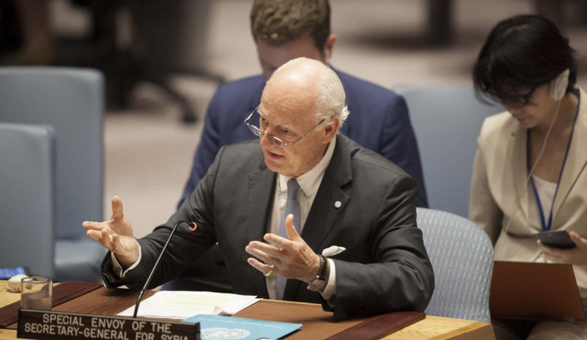 Staffan de Mistura, UN Special Envoy for Syria, briefs the Security Council.