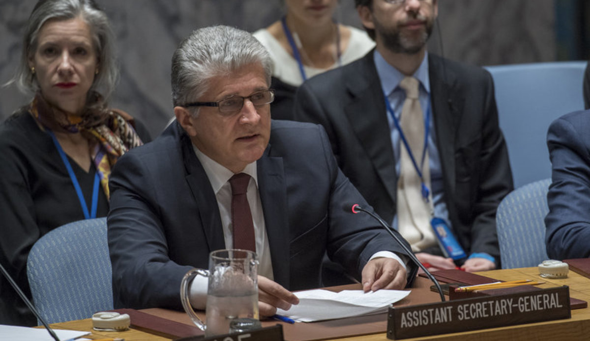 Miroslav Jenča, Assistant Secretary-General for Political Affairs, briefs a Security Council meeting.