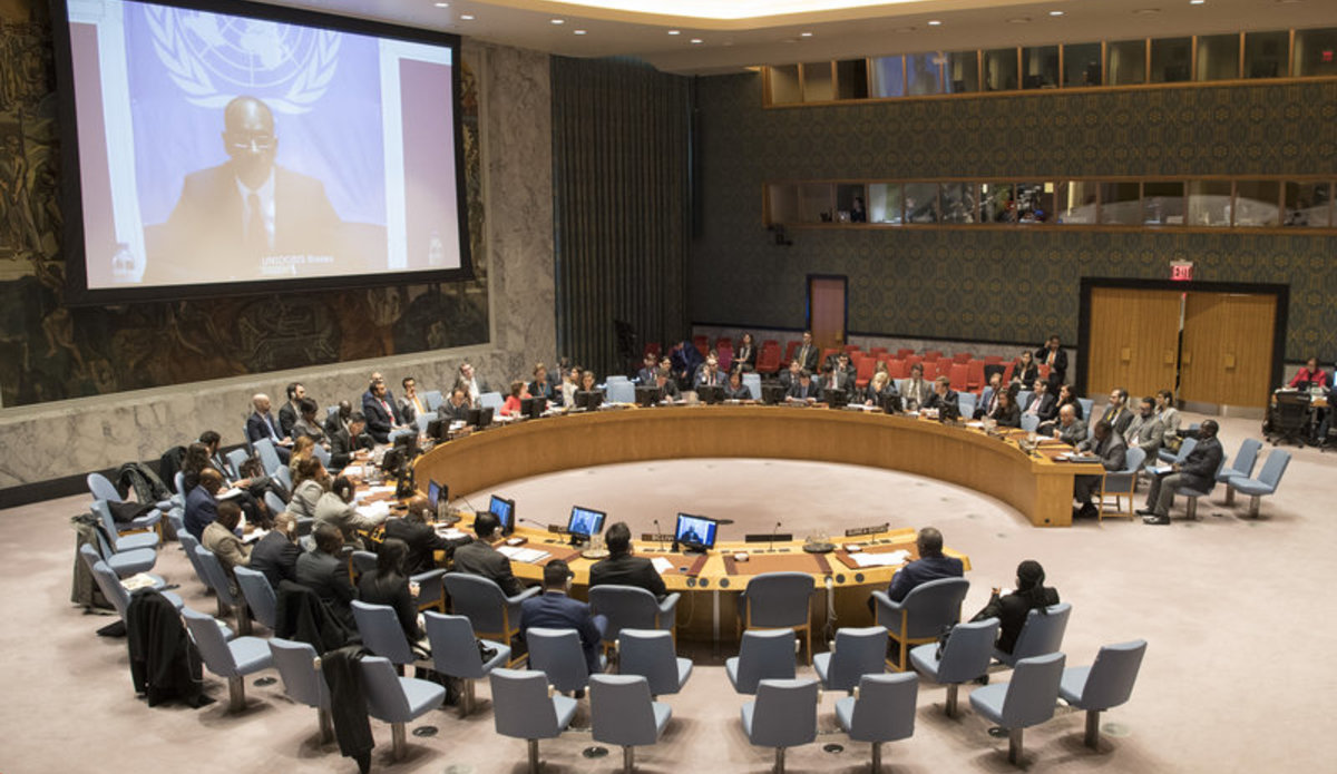 Modibo Touré (on screen), Special Representative and Head of the United Nations Integrated Peacebuilding Office in Guinea-Bissau (UNIOGBIS), briefs the Security Council on the situation in the country.