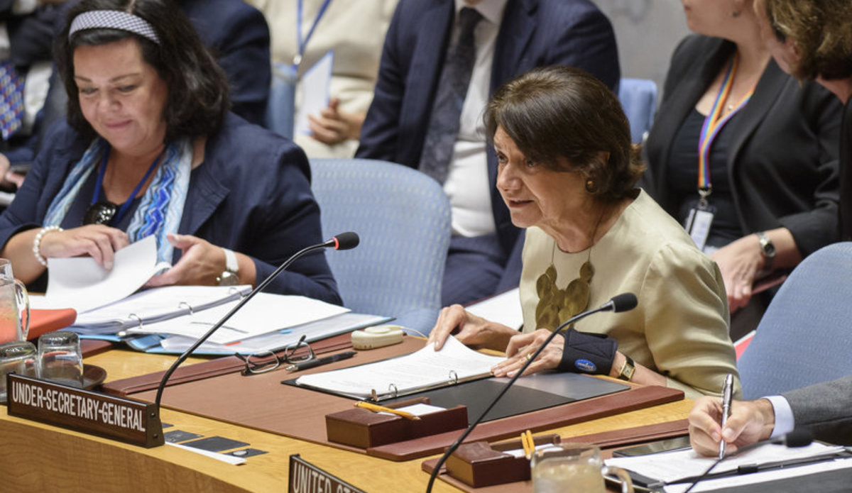 Rosemary A. DiCarlo, Under-Secretary-General for Political Affairs, briefs the Security Council on the situation in the Middle East, including the Palestinian question.