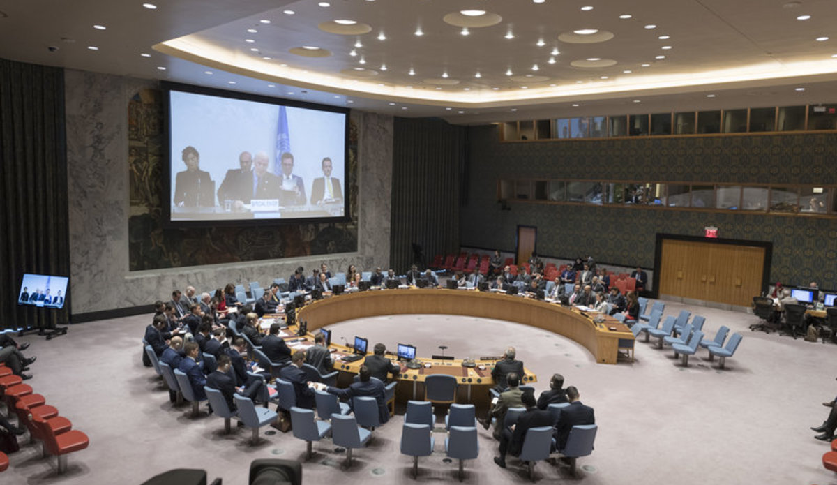 A wide view of the Security Council chamber as Staffan de Mistura (centre on screen), UN Special Envoy for Syria, briefs the Security Council on the situation in the Middle East (Syria). UN Photo/Rick Bajornas