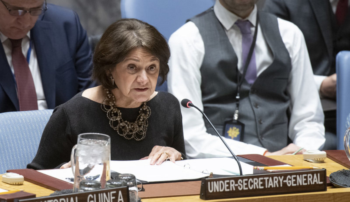 Rosemary DiCarlo, Under-Secretary-General for Political and Peacebuilding Affairs, briefs the Security Council. UN Photo/Eskinder Debebe