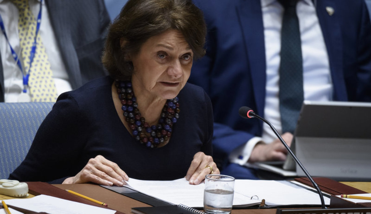 Rosemary DiCarlo, Under-Secretary-General for Political and Peacebuilding Affairs, briefs the Security Council meeting on the situation in the Middle East (Syria).
