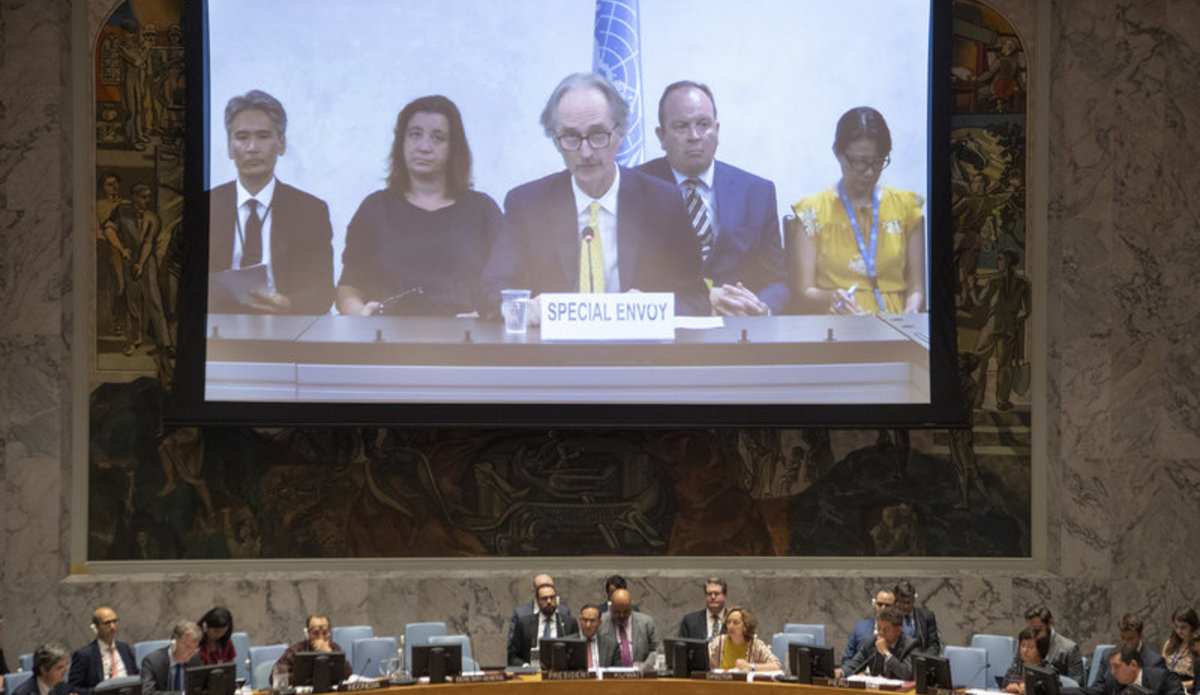 Geir Pedersen (centre on screen), Special Envoy of the Secretary-General for Syria, briefs the Security Council on the situation in the Middle East (Syria).