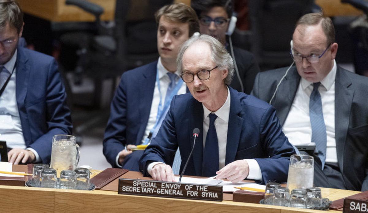 Geir O. Pedersen briefing the Security Council. UN Photo/Rick Bajornas