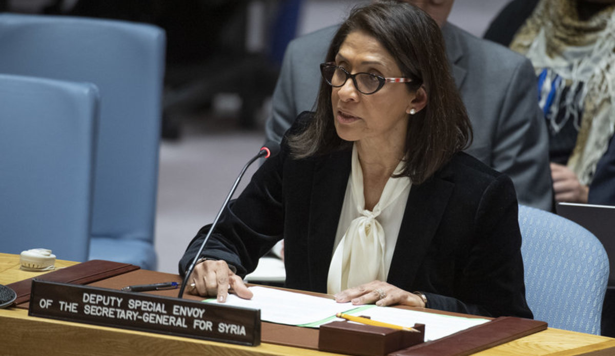Khawla Matar, Deputy Special Envoy of the Secretary-General for Syria, briefs the Security Council on the situation in the Middle East (Syria).