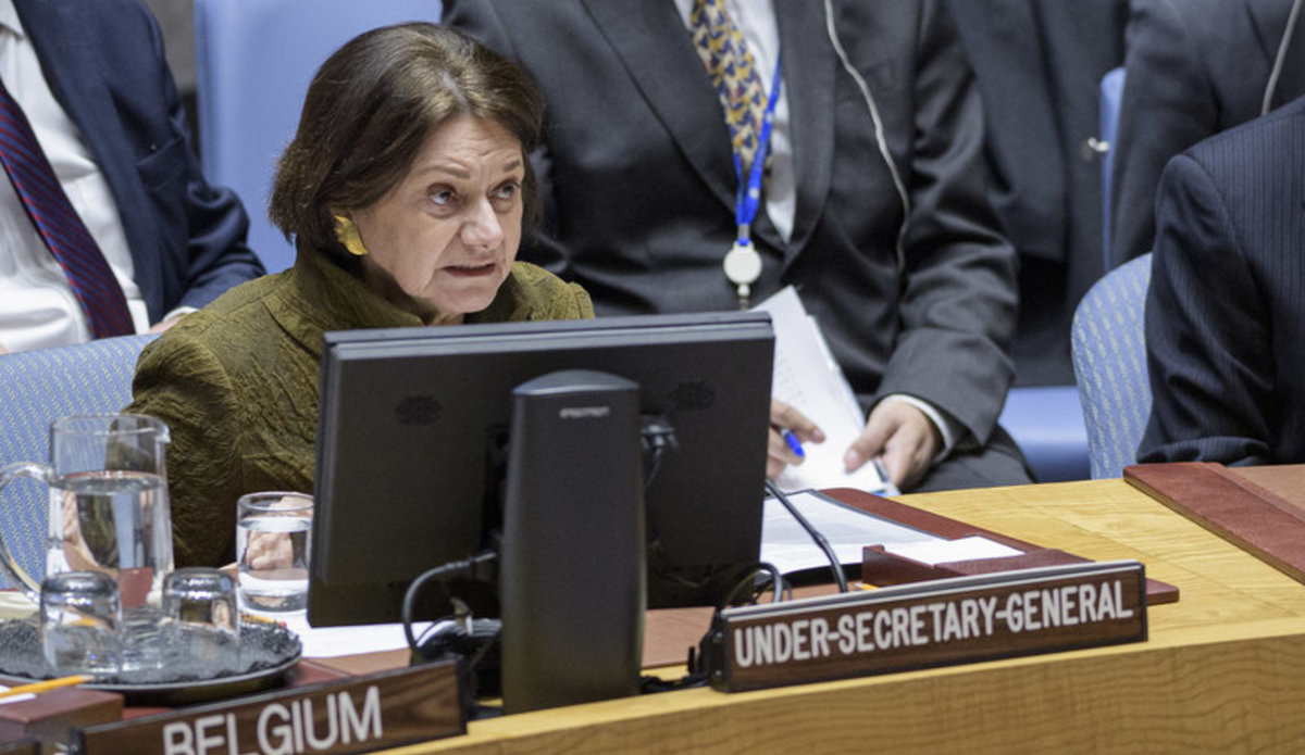 Rosemary DiCarlo, Under-Secretary-General for Political Affairs, briefs the Security Council on Ukraine on 18 February 2020. UN Photo/Manuel Elias