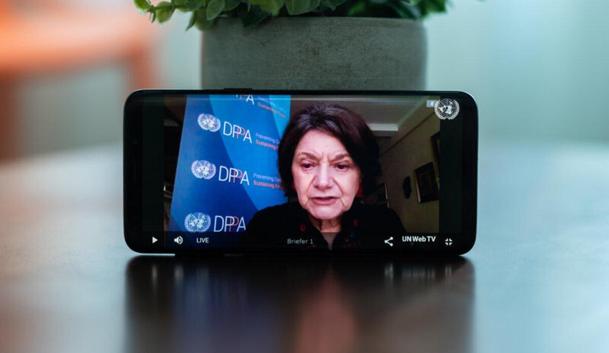 Under-Secretary-General Rosemary DiCarlo briefing the Security Council. UN Photo/Eivind Oskarson