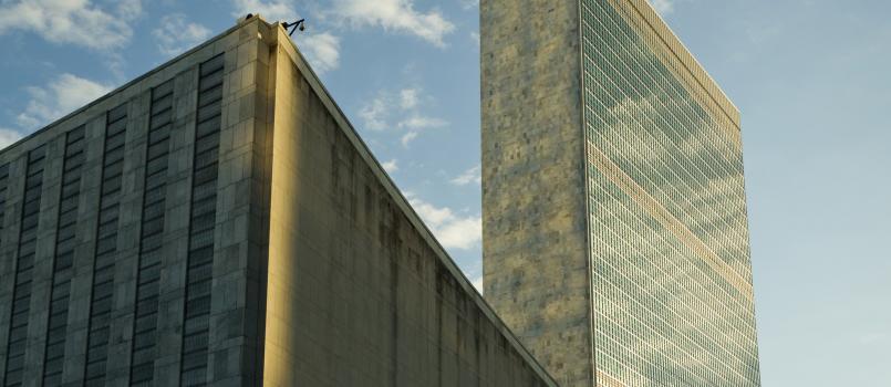 UN Headquarters' iconic Secretariat building reflects the autumn sky.